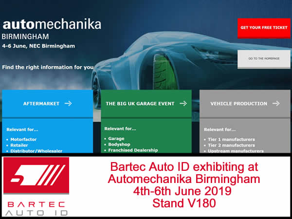 Bartec Exhibiting at Automechanika 4th-6th June 2019 Stand V180