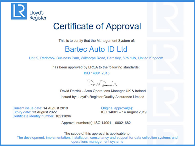 ISO 14001 Approval Standard For Bartec Auto ID